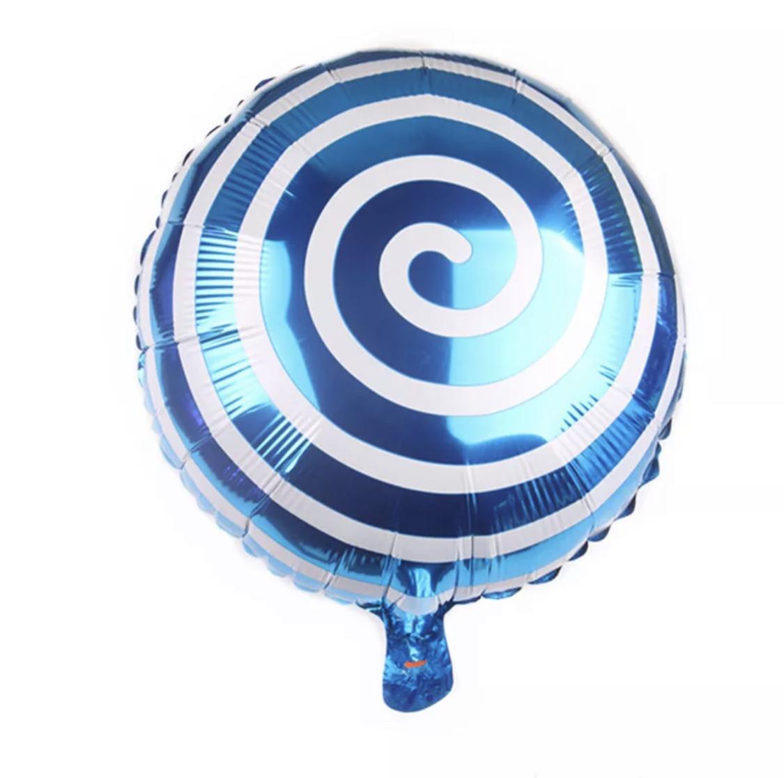 """Шар фольгированный """"Спираль"""" Синий.Размер 18'"""
