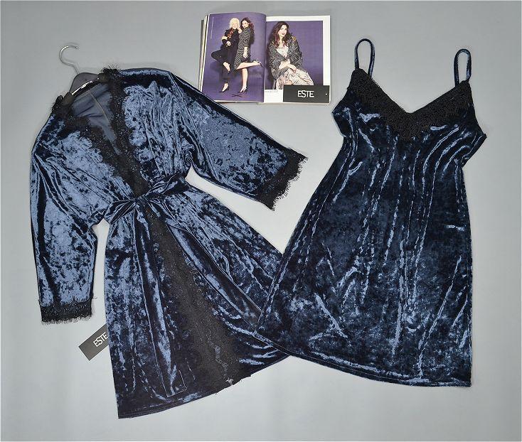 Комплект двойка для сна и дома халат и пеньюар велюровый темно-серый.