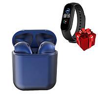 Беспроводные сенсорные наушники темно-синие i12 TWS Pods dark blue и фитнес браслет Band М5