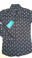 Рубашка темно-синяя, одежда для мальчиков 116-146