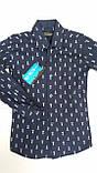 Рубашка темно-синяя, одежда для мальчиков 116-146, фото 3