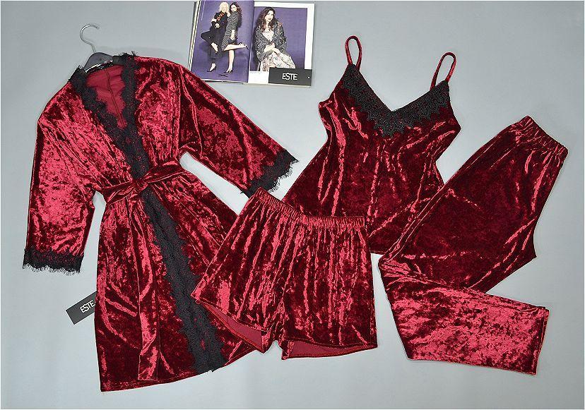 Женский комплект домашней одежды Este велюровый 4 предмета бордовый.