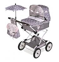 Детская классическая коляска для кукол и пупсов с зонтиком, рюкзаком и корзиной для игрушек 82035 серая