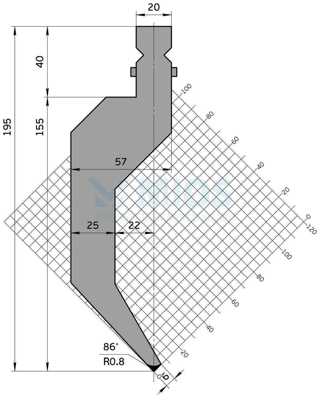 Пуансон Р.302.86.Н (500мм)