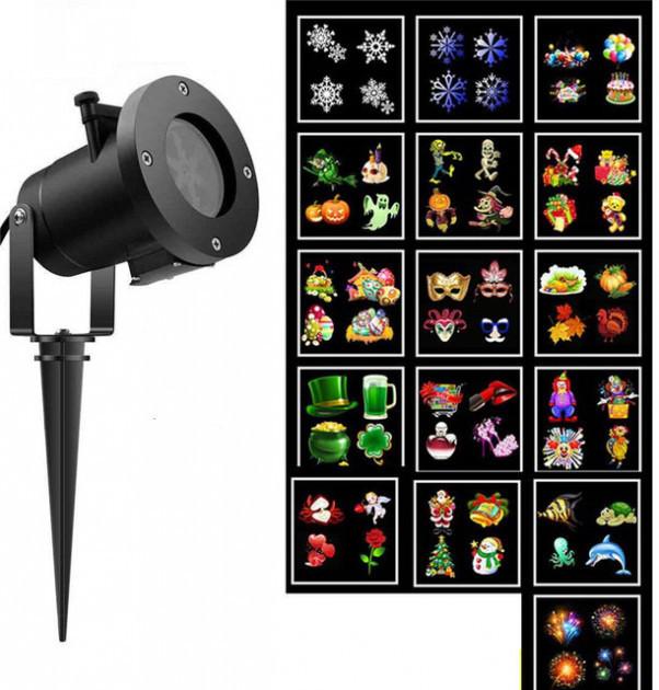 Лазерный уличный проектор Christmas Laser Projector 16 картриджей (3)