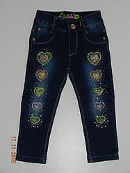 Джинсы на девочку 1 - 5 лет с вышивкой и стразами темные Fly 8223