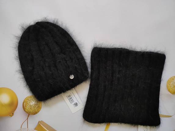 Комплект с баффом из ангоры Инара ODYSSEY 454110 черный, фото 2