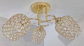 Люстра потолочная на 3 лампочки 2229/3B-gd Золото 26х43х43 см.