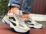 Мужские демисезонные кроссовки Nike M2K Tekno бежевые с оранжевым (Найк зимові м2к текно чоловічі), фото 2