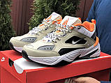 Мужские демисезонные кроссовки Nike M2K Tekno бежевые с оранжевым (Найк зимові м2к текно чоловічі), фото 3