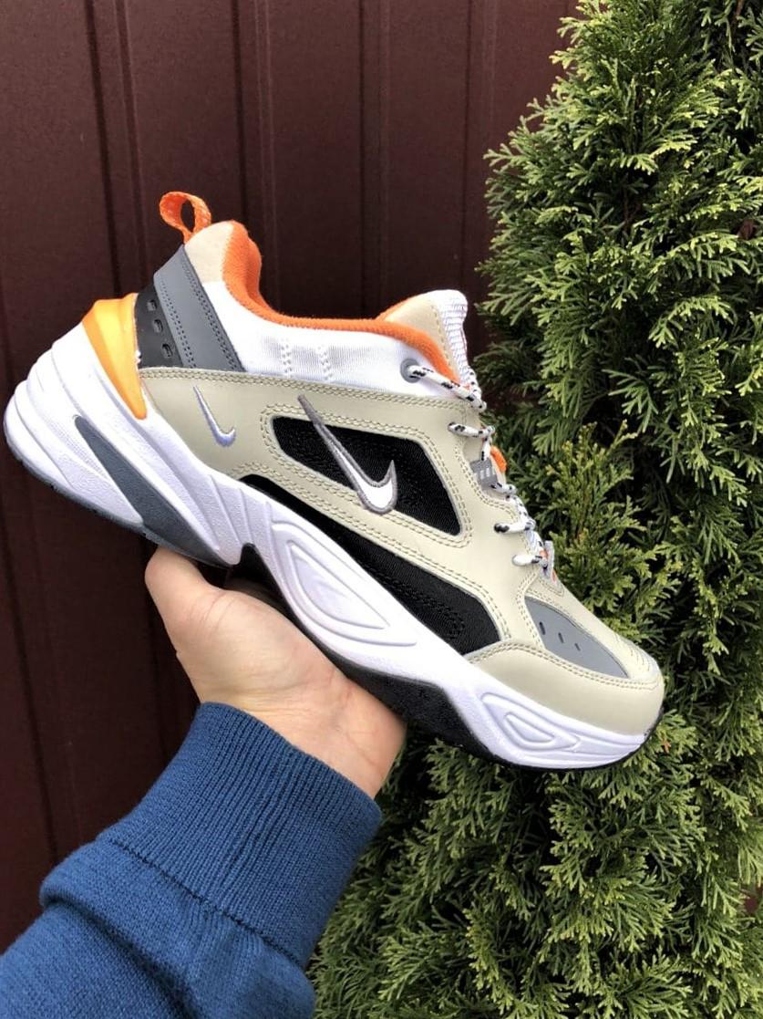 Мужские демисезонные кроссовки Nike M2K Tekno бежевые с оранжевым (Найк зимові м2к текно чоловічі)
