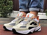 Мужские демисезонные кроссовки Nike M2K Tekno бежевые с оранжевым (Найк зимові м2к текно чоловічі), фото 5