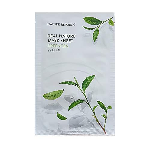 Тканевая маска для лица c зеленым чаем NATURE REPUBLIC Green Tea Real Nature Mask Sheet