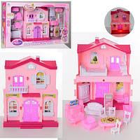 Домик для куклы 26х21х10 | с аксессуарами | розовый | со светом