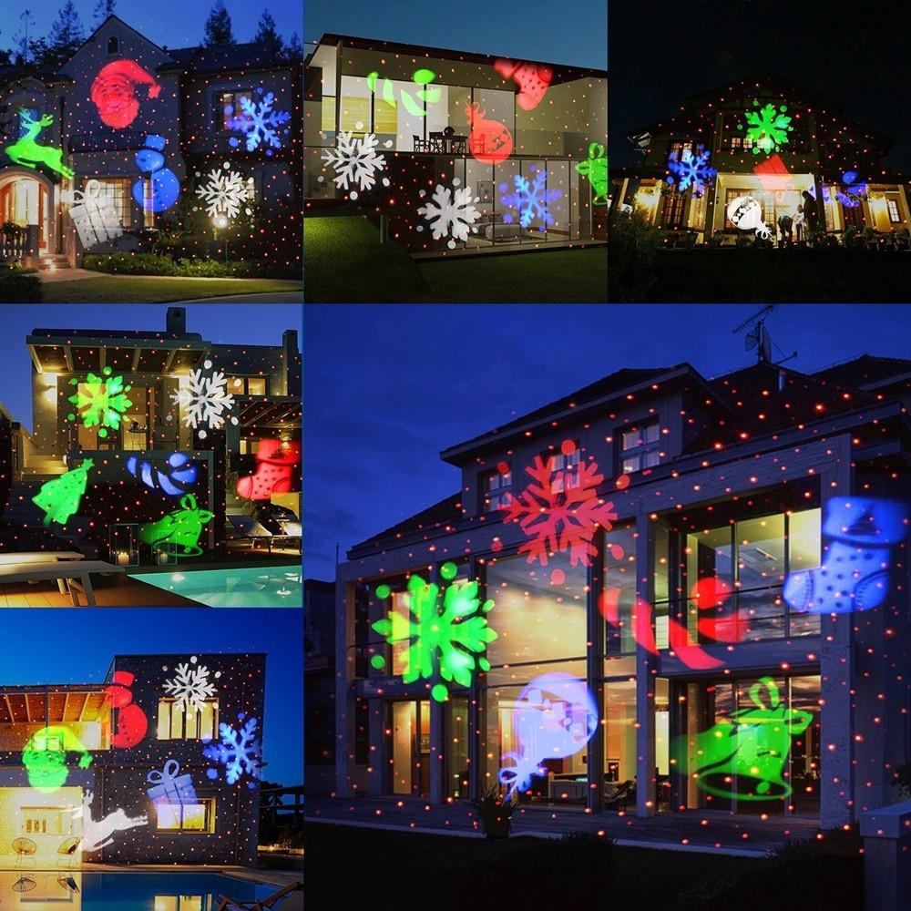 Проектор лазерный Strahler Schneeflocke LED разноцветные движущиеся фигурки (6)