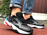 Мужские демисезонные кроссовки Nike M2K Tekno черные с синим красным (Найк зимові м2к текно чоловічі), фото 2
