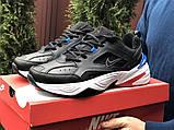 Мужские демисезонные кроссовки Nike M2K Tekno черные с синим красным (Найк зимові м2к текно чоловічі), фото 3