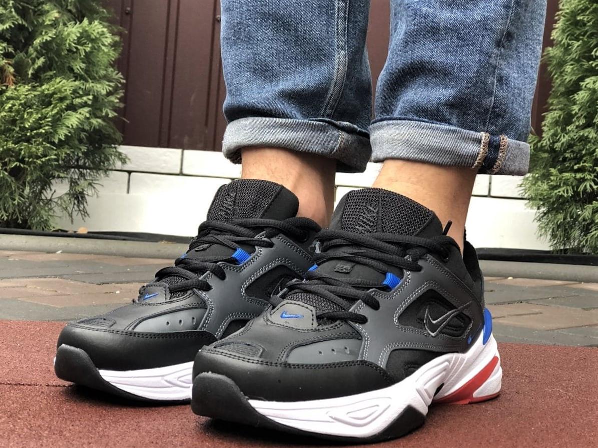 Мужские демисезонные кроссовки Nike M2K Tekno черные с синим красным (Найк зимові м2к текно чоловічі)