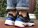 Мужские демисезонные кроссовки Nike M2K Tekno черные с синим красным (Найк зимові м2к текно чоловічі), фото 6