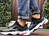 Мужские демисезонные кроссовки Nike M2K Tekno черные с синим красным (Найк зимові м2к текно чоловічі), фото 4