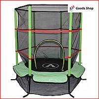 Батут детский Atleto 140см New c защитной сеткой Маленький прыгательный батут комнатный для дома детей зеленый