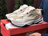 Мужские демисезонные кроссовки Nike M2K Tekno бежевые с красным (Найк зимові м2к текно чоловічі), фото 2