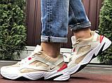 Мужские демисезонные кроссовки Nike M2K Tekno бежевые с красным (Найк зимові м2к текно чоловічі), фото 3