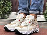 Мужские демисезонные кроссовки Nike M2K Tekno бежевые с красным (Найк зимові м2к текно чоловічі), фото 5