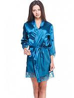 Яскравий жіночий сатиновий халат з мереживом