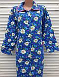 Теплый фланелевый халат 52 размер Крупные ромашки, фото 3