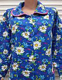 Теплый фланелевый халат 52 размер Крупные ромашки, фото 6