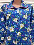 Теплый фланелевый халат 52 размер Крупные ромашки, фото 7