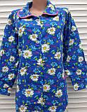 Теплый фланелевый халат 52 размер Крупные ромашки, фото 10