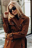 Женский классический тренч с поясом и карманами коричневый
