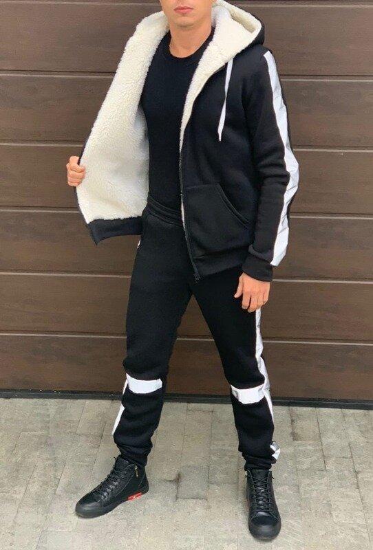 Тёплый мужской спортивный костюм вставки светоотражающие кофта на меху кенгурушка штаны на манжете