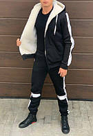 Тёплый мужской спортивный костюм вставки светоотражающие кофта на меху кенгурушка штаны на манжете, фото 1