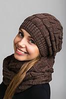 Стильный вязаный набор шапка с шарфом-хомутом