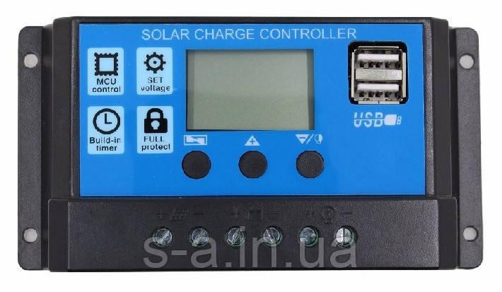 10А 12/24В Контроллер заряда солнечных батарей (модулей) ШИМ (PWM) с Дисплеем + 2USB Контролер заряду