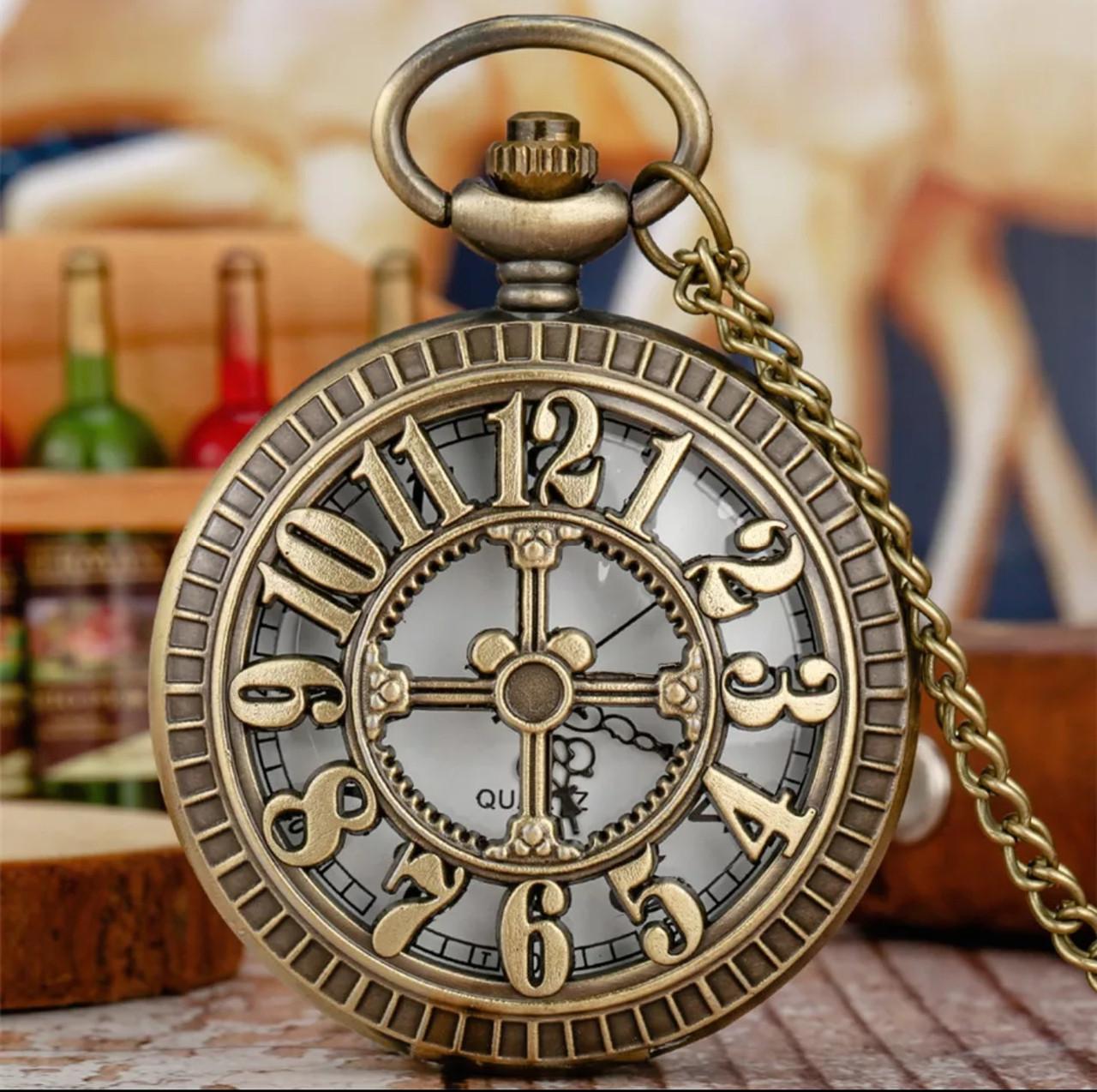 Кишенькові чорні чоловічі годинник на ланцюжку