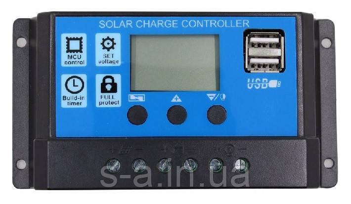 20А 12/24В Контроллер заряда солнечных батарей (модулей) ШИМ (PWM) с Дисплеем + 2USB Контролер заряду