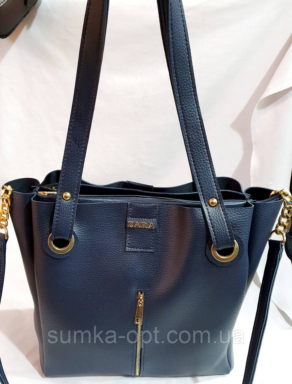 Брендовая женская сумка Zara с боковыми карманами, синяя с серебристой фурнитурой 29*30 см