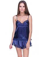 Темно синяя женская пижама с шортами