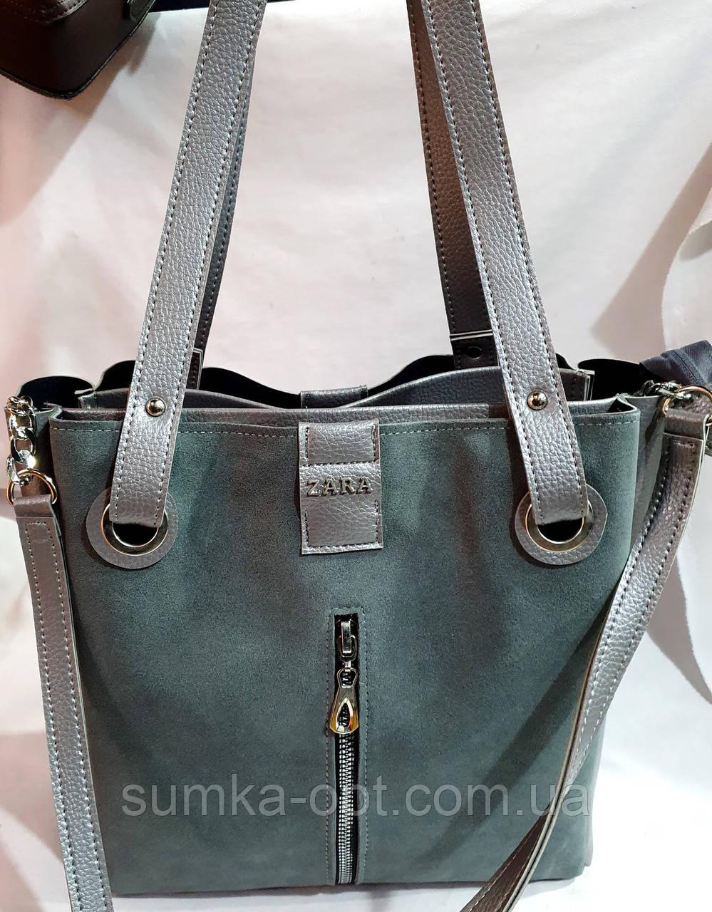 Брендовая женская сумка Zara с боковыми карманами, серая с серебристой фурнитурой 29*30 см (натуральная замша