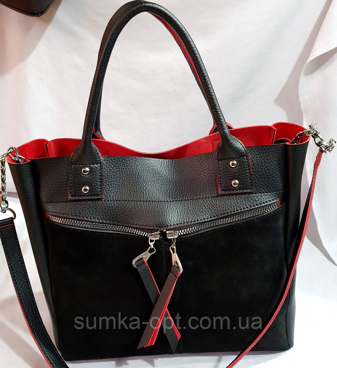 Женская замшевая черно-красная сумка 32*30 см (натуральная замша)