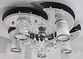 Люстра стельова Космос з кольоровий LED підсвічуванням і авто відключенням з пультом 5235/5+1 Чорний 18х54х54 див.
