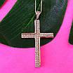 Серебряный крестик католический - Католический крестик из серебра с камнями, фото 2
