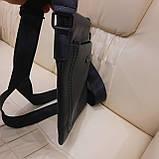 Сумка планшет alligator городская мужская черная из натуральной кожи, фото 3