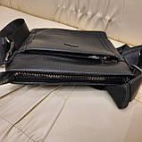 Сумка планшет alligator городская мужская черная из натуральной кожи, фото 5