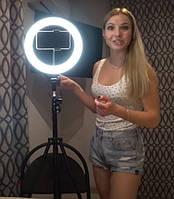 Кольцевая лампа светодиодная 26 см.+Подарок Селфи-палка монопод.
