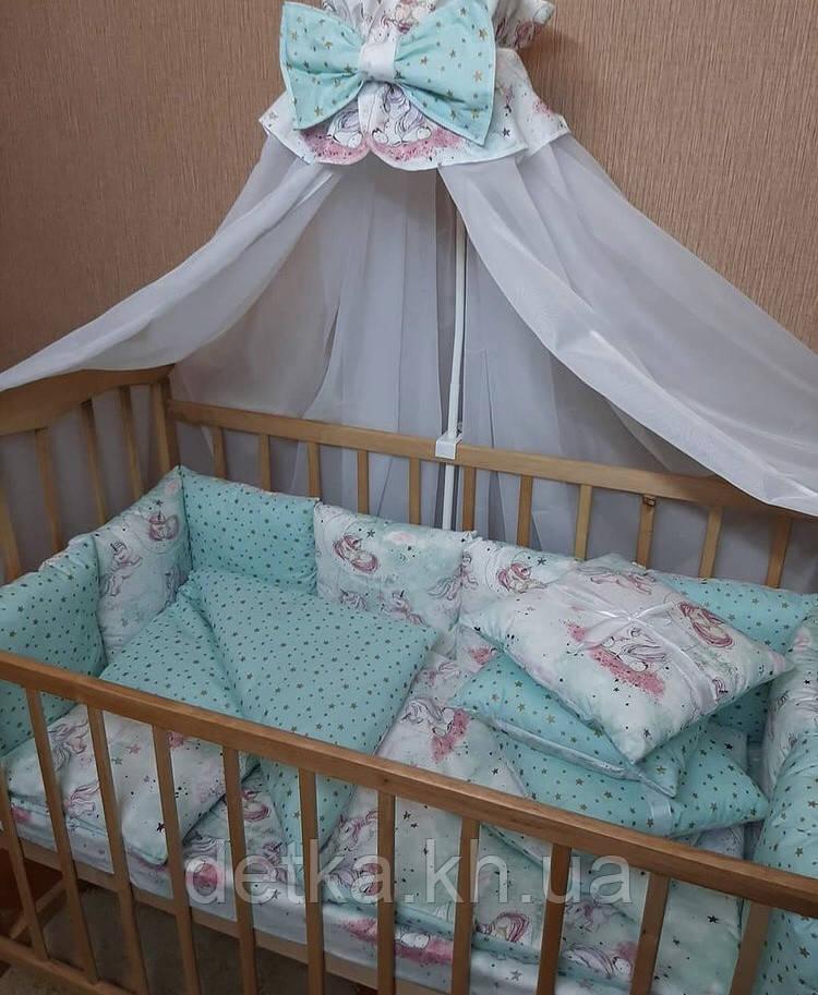 """Комплект """"Детская постель - набор  в детскую кроватку"""" рисунок -глитер"""